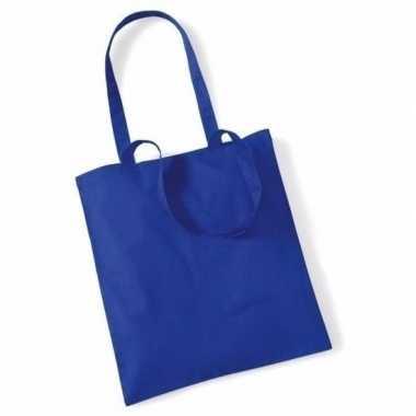 100x katoenen schoudertassen draagtasjes kobaltblauw 42 x 38 cm