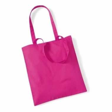 10x katoenen schoudertassen draagtasjes fuchsia 42 x 38 cm