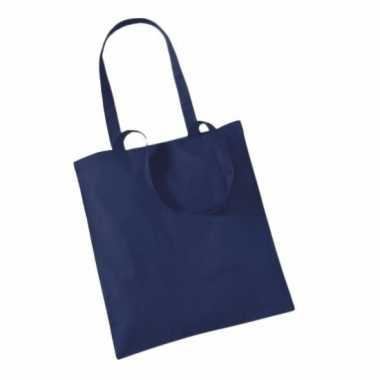 10x katoenen schoudertassen draagtasjes navy 42 x 38 cm