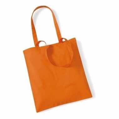 10x katoenen schoudertassen draagtasjes oranje 42 x 38 cm