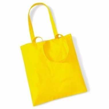 20x katoenen schoudertassen draagtasje geel 42 x 38 cm