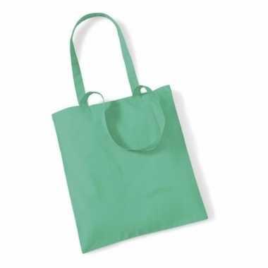 40x katoenen schoudertassen draagtasjes mint groen 42 x 38 cm