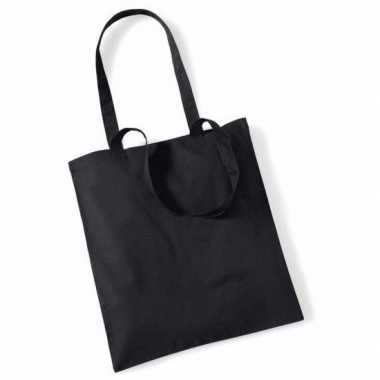 40x katoenen schoudertassen draagtasjes zwart 42 x 38 cm