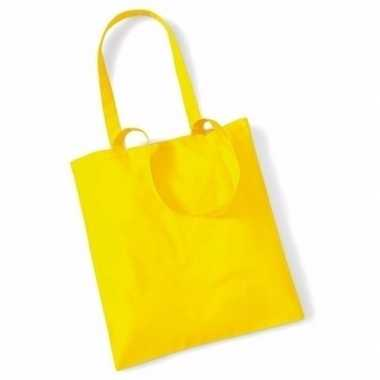 50x katoenen schoudertassen draagtasje geel 42 x 38 cm
