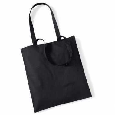 50x katoenen schoudertassen draagtasjes zwart 42 x 38 cm