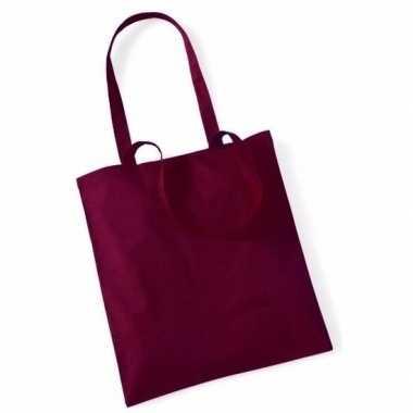 80x katoenen schoudertassen draagtasje bordeaux rood 42 x 38 cm