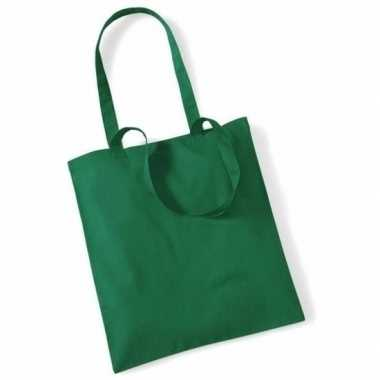 80x katoenen schoudertassen draagtasjes groen 42 x 38 cm