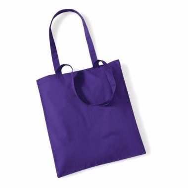 80x katoenen schoudertassen draagtasjes paars 42 x 38 cm