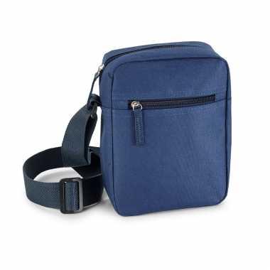 Blauw schoudertasje met verstelbare schouderband 18 x 22 cm