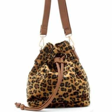 Bruin/zwart luipaardprint schoudertasje/bucket bag 30 cm