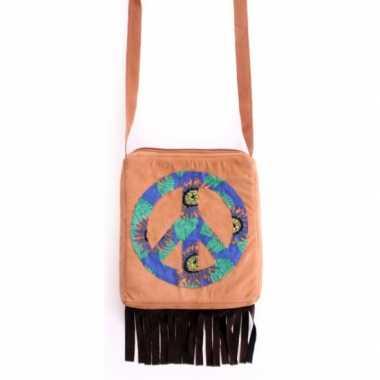 Bruine hippie schoudertas