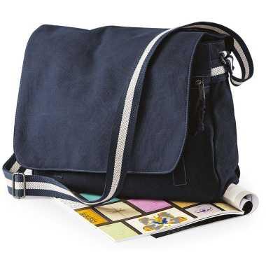 Canvas schoudertas donkerblauw 14 liter