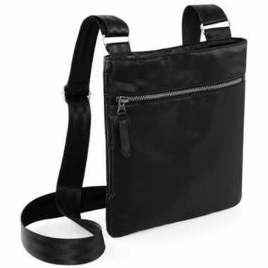 Documenten reistasje zwart 26 cm nektasje/schoudertasje