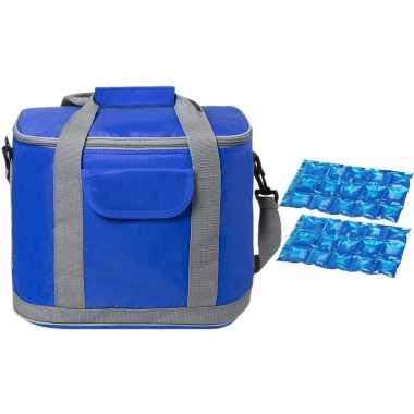 Grote koeltas draagtas/schoudertas blauw met 2 stuks flexibele koelelementen 22 liter