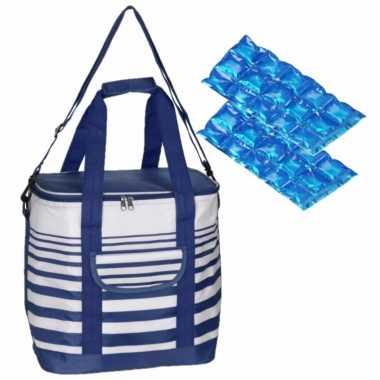 Grote koeltas draagtas schoudertas blauw/wit gestreept met 2 stuks flexibele koelelementen
