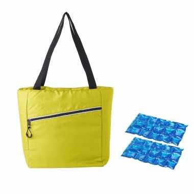 Grote koeltas draagtas/schoudertas geel met 2 stuks flexibele koelelementen 20 liter