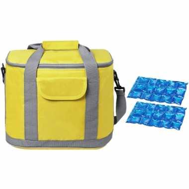 Grote koeltas draagtas/schoudertas geel met 2 stuks flexibele koelelementen 22 liter