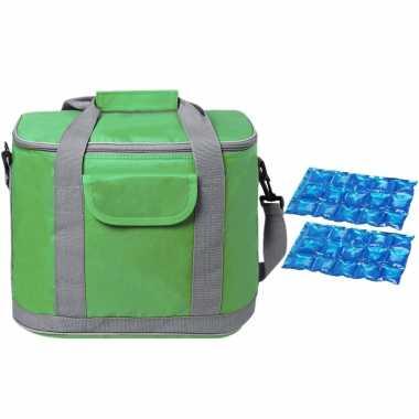 Grote koeltas draagtas/schoudertas groen met 2 stuks flexibele koelelementen 22 liter