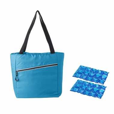 Grote koeltas draagtas/schoudertas lichtblauw met 2 stuks flexibele koelelementen 20 liter