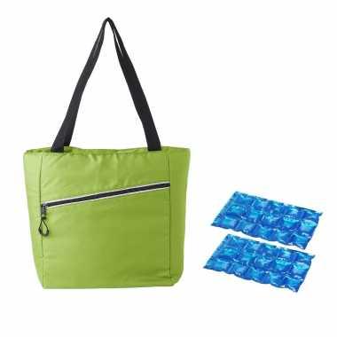 Grote koeltas draagtas/schoudertas lime groen met 2 stuks flexibele koelelementen 20 liter