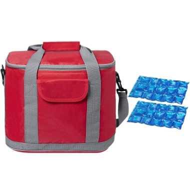 Grote koeltas draagtas/schoudertas rood met 2 stuks flexibele koelelementen 22 liter