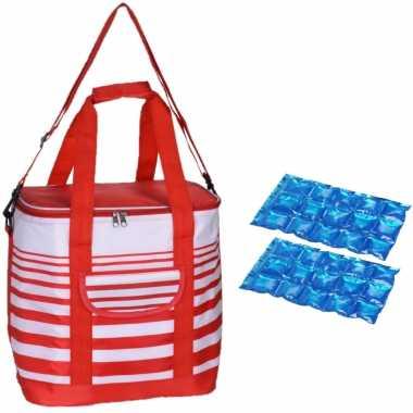 Grote koeltas draagtas schoudertas rood/wit gestreept met 2 stuks flexibele koelelementen 24 liter