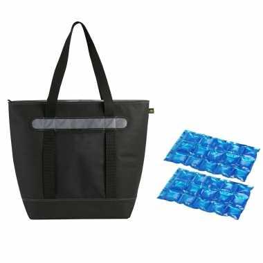 Grote koeltas draagtas/schoudertas/rugtas zwart met 2 stuks flexibele koelelementen 50 liter