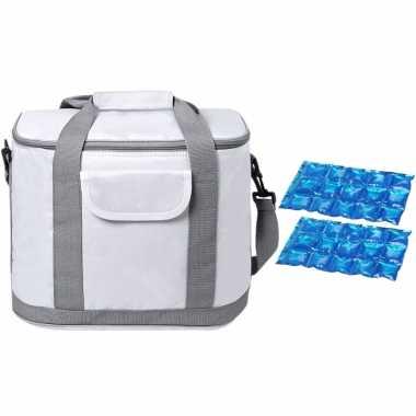 Grote koeltas draagtas/schoudertas wit met 2 stuks flexibele koelelementen 22 liter