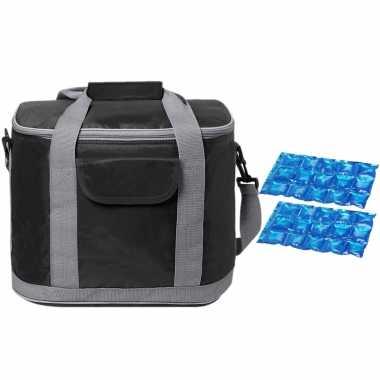 Grote koeltas draagtas/schoudertas zwart met 2 stuks flexibele koelelementen 22 liter