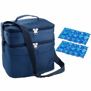 Koeltas draagtas schoudertas blauw met 2 stuks flexibele koelelementen 13 liter
