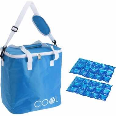 Koeltas draagtas schoudertas blauw met 2 stuks flexibele koelelementen 18 liter