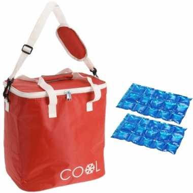 Koeltas draagtas schoudertas rood met 2 stuks flexibele koelelementen 18 liter