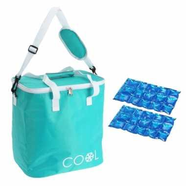 Koeltas draagtas schoudertas turquoise met 2 stuks flexibele koelelementen 18 liter