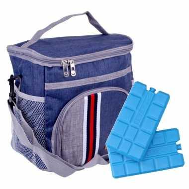 Koeltas schoudertas blauw met extra vakje 9 liter incl. 2 koelelementen