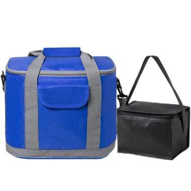 Koeltassen set draagtas/schoudertas blauw/zwart 22 en 4 liter