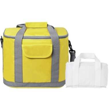 Koeltassen set draagtas/schoudertas geel/wit 22 en 4 liter
