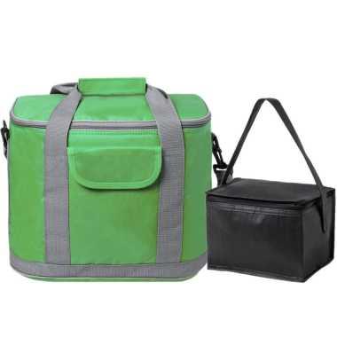 Koeltassen set draagtas/schoudertas groen/zwart 22 en 4 liter
