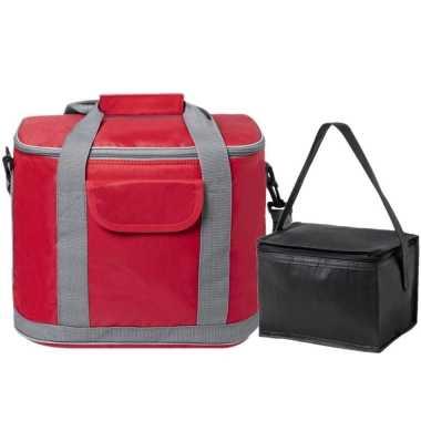 Koeltassen set draagtas/schoudertas rood/zwart 22 en 4 liter