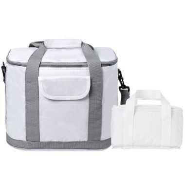 Koeltassen set draagtas/schoudertas wit 22 en 4 liter