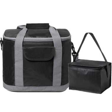 Koeltassen set draagtas/schoudertas zwart 22 en 4 liter