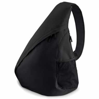 Monostrap schoudertas zwart 48 cm