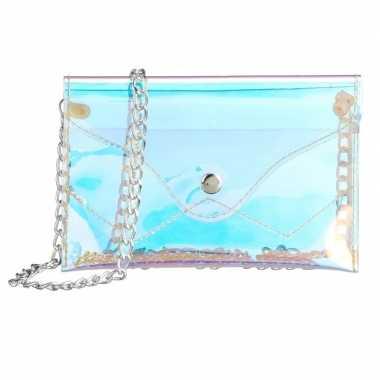 Schoudertasje/handtasje metallic parelmoer 18 cm
