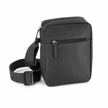 Zwart schoudertasje met verstelbare schouderband 18 x 22 cm