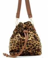 Bruin zwart luipaardprint schoudertasje bucket bag 30 cm