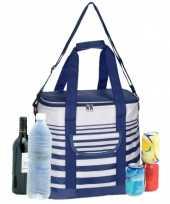 Grote koeltas draagtas schoudertas blauw wit gestreept 33 x 23 x 36 cm 24 liter
