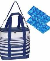Grote koeltas draagtas schoudertas blauw wit gestreept met 2 stuks flexibele koelelementen