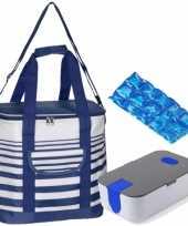 Grote koeltas draagtas schoudertas blauw wit gestreept met lunchtrommel en flexibel koelelement