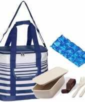 Grote koeltas draagtas schoudertas blauw wit met lunchbox met bestek en flexibel koelelement