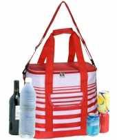 Grote koeltas draagtas schoudertas rood wit gestreept 33 x 23 x 36 cm 24 liter