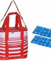 Grote koeltas draagtas schoudertas rood wit gestreept met 2 stuks flexibele koelelementen 24 liter